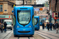 Zagreb, Croatia blue tram at the street Royalty Free Stock Photos