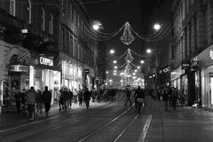 Zagreb, Croatia, Christmas decorations. Main square and the longest street decorated with Christmas lights in black and white b/w Royalty Free Stock Photography