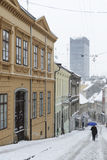 ZAGREB, CROATIA - 6 FEBRUARY, 2015: Radiceva street covered in s. Now, one of the most beautiful streets in Zagreb Stock Images