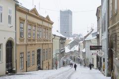 ZAGREB, CROATIA - 6 FEBRUARY, 2015: Radiceva street covered in s Stock Photography