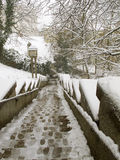 ZAGREB, CROATIA - FEBRUARY 2015: Snow covered stairway in the old part of Zagreb in Croatia. Stock Photo
