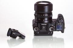 28. 05. 2017, Zagreb, CROATIA: Fujifilm GFX 50S, 51 megapixels,. Fujifilm GFX 50S, 51 megapixels, medium format sensor digital camera with additional electronic Stock Image