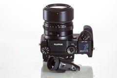 28. 05. 2017, Zagreb, CROATIA: Fujifilm GFX 50S, 51 megapixels,. Fujifilm GFX 50S, 51 megapixels, medium format sensor digital camera with additional electronic Stock Photo