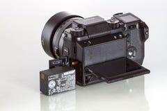 28. 05. 2017, Zagreb, CROATIA: Fujifilm GFX 50S, 51 megapixels,. Fujifilm GFX 50S, 51 megapixels, medium format sensor digital camera with battery on white Stock Photos