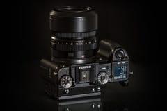 28. 05. 2017, Zagreb, CROATIA: Fujifilm GFX 50S, 51 megapixels,. Fujifilm GFX 50S, 51 megapixels, medium format sensor digital camera on black reflecting Stock Images