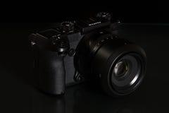 28. 05. 2017, Zagreb, CROATIA: Fujifilm GFX 50S, 51 megapixels,. Fujifilm GFX 50S, 51 megapixels, medium format sensor digital camera on black reflecting Stock Photos