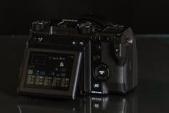28. 05. 2017, Zagreb, CROATIA: Fujifilm GFX 50S, 51 megapixels,. Fujifilm GFX 50S, 51 megapixels, medium format sensor digital camera on black reflecting Stock Photography