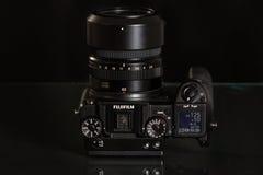 28. 05. 2017, Zagreb, CROATIA: Fujifilm GFX 50S, 51 megapixels,. Fujifilm GFX 50S, 51 megapixels, medium format sensor digital camera on black reflecting Royalty Free Stock Images