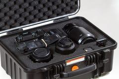 28. 05. 2017, Zagreb, CROATIA: Fujifilm GFX 50S, 51 megapixels,. Fujifilm GFX 50S, 51 megapixels, medium format sensor digital camera on in secure case white Royalty Free Stock Images
