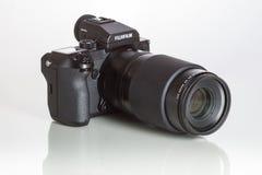 28. 05. 2017, Zagreb, CROATIA: Fujifilm GFX 50S, 51 megapixels,. Fujifilm GFX 50S, 51 megapixels, medium format sensor digital camera on white reflecting Royalty Free Stock Photo