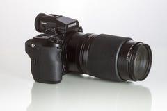 28. 05. 2017, Zagreb, CROATIA: Fujifilm GFX 50S, 51 megapixels,. Fujifilm GFX 50S, 51 megapixels, medium format sensor digital camera on white reflecting Stock Photos