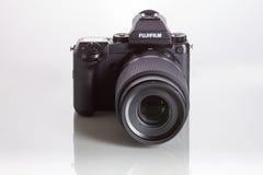 28. 05. 2017, Zagreb, CROATIA: Fujifilm GFX 50S, 51 megapixels,. Fujifilm GFX 50S, 51 megapixels, medium format sensor digital camera on white reflecting Royalty Free Stock Photography