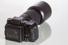 28. 05. 2017, Zagreb, CROATIA: Fujifilm GFX 50S, 51 megapixels,. Fujifilm GFX 50S, 51 megapixels, medium format sensor digital camera on white reflecting Stock Photo