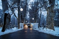 Free Zagreb, Croatia: January 6 2016: Advent Market With Foodstalls In The Night With Decoration Lights With Snow In Zrinjevac Park In Stock Images - 103954114