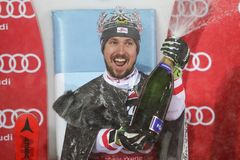 Audi FIS World Cup Mens Slalom award ceremony Royalty Free Stock Photo