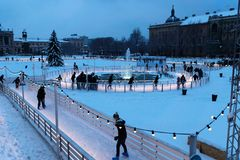 Zagreb, Croatia: January 6 2016: Ice skating park at Ledeni Park at night in winter with snow Stock Photos