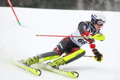 Audi FIS World Cup Ladies Slalom. ZAGREB, CROATIA - JANUARY 3, 2018 : Stimac Ida of Cro competes during the Audi FIS Alpine Ski World Cup Women`s Slalom, Snow Royalty Free Stock Images