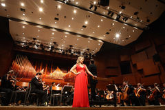 Elina Garanca held a concert in the Concert Hall Lisinski. ZAGREB, CROATIA - JANUARY 21: World opera star, mezzo-soprano Elina Garanca held a concert in the Royalty Free Stock Images