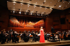 Elina Garanca held a concert in the Concert Hall Lisinski. ZAGREB, CROATIA - JANUARY 21: World opera star, mezzo-soprano Elina Garanca held a concert in the stock photo