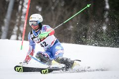 Audi FIS World Cup Mens Slalom. ZAGREB, CROATIA - JANUARY 4, 2018 : Zampa Adam of Svk competes during the Audi FIS Alpine Ski World Cup Mens Slalom, Snow Queen stock image