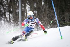 Audi FIS World Cup Mens Slalom. ZAGREB, CROATIA - JANUARY 4, 2018 : Zampa Adam of Svk competes during the Audi FIS Alpine Ski World Cup Mens Slalom, Snow Queen royalty free stock photos