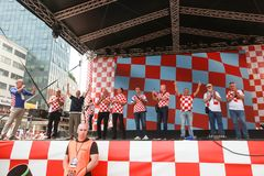 Welcome home ceremony celebrities. ZAGREB, CROATIA - JULY 16, 2018 : Croatia National Football Team welcome home celebration. Croatian military generals on the royalty free stock photo