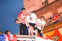 Croatian football Team arriving through the crowd with the bus Stock Photography