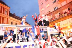 Croatian football Team arriving through the crowd with the bus Royalty Free Stock Images