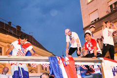 Croatian football Team arriving through the crowd with the bus Royalty Free Stock Image
