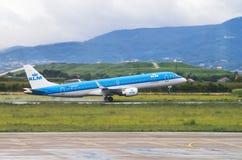 ZAGREB, CROATIA - JULY 12: KLM Embraer ERJ-190 on Pleso airport in Zagreb, Croatia. Royalty Free Stock Images
