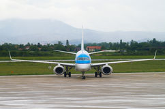 ZAGREB, CROATIA - JULY 12: KLM Embraer ERJ-190 on Pleso airport in Zagreb, Croatia. Stock Photos