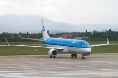 ZAGREB, CROATIA - JULY 12: KLM Embraer ERJ-190 on Pleso airport in Zagreb, Croatia. Royalty Free Stock Image