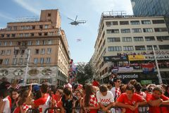 Welcome home ceremony. ZAGREB, CROATIA - JULY 16, 2018 : Croatia National Team welcome home celebration for 2nd place on Fifa World Cup 2018. Military helicopter stock images