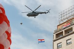 Welcome home ceremony. ZAGREB, CROATIA - JULY 16, 2018 : Croatia National Team welcome home celebration for 2nd place on Fifa World Cup 2018. Military helicopter stock photo