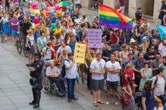 15th Zagreb pride. LGBTIQ activists on Illica street heading to main square. ZAGREB, CROATIA - JUNE 11, 2016: 15th Zagreb pride. LGBTIQ activists on Illica stock image