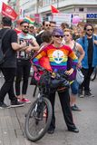 15th Zagreb pride. LGBTIQ activists on street. ZAGREB, CROATIA - JUNE 11, 2016: 15th Zagreb pride. LGBTIQ activists on street royalty free stock photos