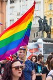 15th Zagreb pride. LGBTIQ activists on Ban Josip Jelacic square. ZAGREB, CROATIA - JUNE 11, 2016: 15th Zagreb pride. LGBTIQ activists on Ban Josip Jelacic royalty free stock photography