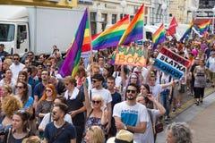 15th Zagreb pride. LGBTIQ activists on Ban Josip Jelacic square. ZAGREB, CROATIA - JUNE 11, 2016: 15th Zagreb pride. LGBTIQ activists on Ban Josip Jelacic stock photos
