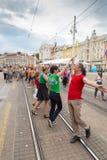 15th Zagreb pride. LGBTIQ activists dancing at the main square. ZAGREB, CROATIA - JUNE 11, 2016: 15th Zagreb pride. LGBTIQ activists dancing at the main square stock photos