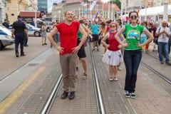 15th Zagreb pride. LGBTIQ activists dancing at the main square. ZAGREB, CROATIA - JUNE 11, 2016: 15th Zagreb pride. LGBTIQ activists dancing at the main square royalty free stock photography