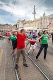 15th Zagreb pride. LGBTIQ activists dancing at the main square. ZAGREB, CROATIA - JUNE 11, 2016: 15th Zagreb pride. LGBTIQ activists dancing at the main square royalty free stock photo