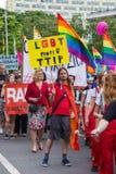 15th Zagreb pride. LGBTIQ activists holding pride banner. ZAGREB, CROATIA - JUNE 11, 2016: 15th Zagreb pride. LGBTIQ activists holding pride banner royalty free stock photography