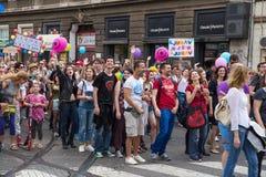 15th Zagreb pride. LGBTIQ activists on street. ZAGREB, CROATIA - JUNE 11, 2016: 15th Zagreb pride. LGBTIQ activists on street stock photo