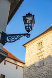 Zagreb, Croatia. Lantern at the Stone gate on Upper town in Zagreb, Croatia in early summer morning, popular touristic destination royalty free stock image