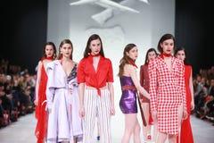 Bipa Fashion.hr fashion show 2018 : Mates. ZAGREB, CROATIA - MARCH 22, 2018 : Fashion model wearing clothes for spring - summer, designed by Mates - Marko Ilijev Royalty Free Stock Image