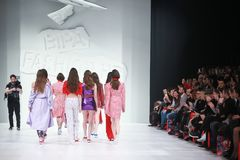 Bipa Fashion.hr fashion show 2018 : Mates. ZAGREB, CROATIA - MARCH 22, 2018 : Fashion model wearing clothes for spring - summer, designed by Mates - Marko Ilijev Stock Photography
