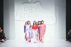 Bipa Fashion.hr fashion show 2018 : Mates. ZAGREB, CROATIA - MARCH 22, 2018 : Fashion model wearing clothes for spring - summer, designed by Mates - Marko Ilijev Royalty Free Stock Photo