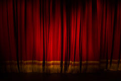 ZAGREB, CROATIA - Mart 14. 2017. lowered red theater curtain at Royalty Free Stock Photography