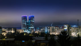 Zagreb Croatia night. Night shot of skyscraper in Zagreb - Croatia Stock Photos