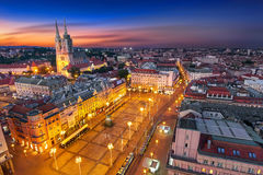 Zagreb Croatia at Night. View from above of Ban Jelacic Square Royalty Free Stock Photography